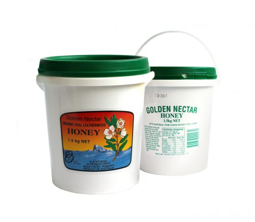 Golden Nectar Leatherwood Honey Bucket 1.5kg
