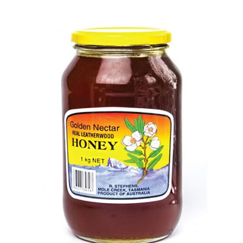Golden Nectar Leatherwood Honey Glass Jar 1kg