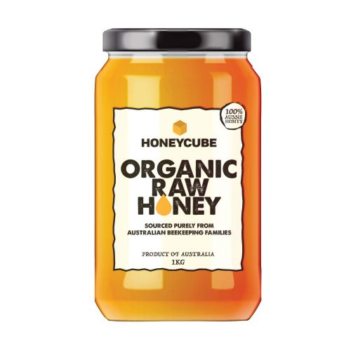 Raw Organic Honey Glass Jar 1kg