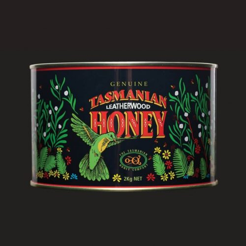 Tasmanian Leatherwood Honey Printed Metal Can 2kg